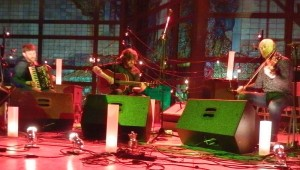 Land of light: Martin Green {accordion),  Kris Drever (guitar) and Aidan O'Rourke (fiddle) in The Republic of Lau-land